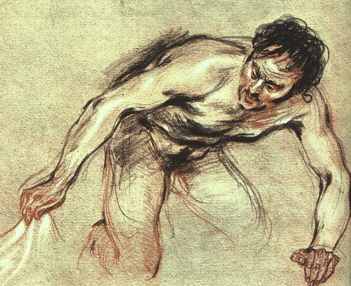 Kneeling Male Nude by Jean-Ant
