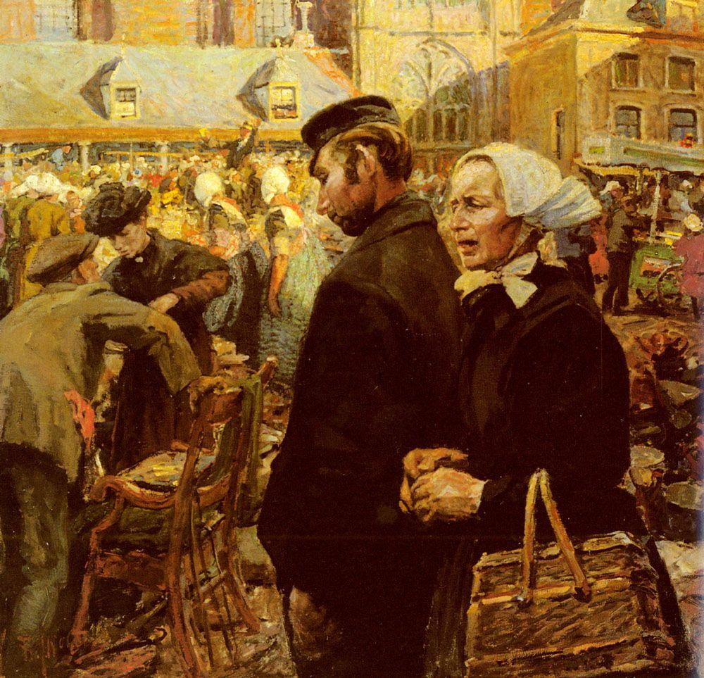 Marketscene At Amersfoort by Hendrik Jan Wolter