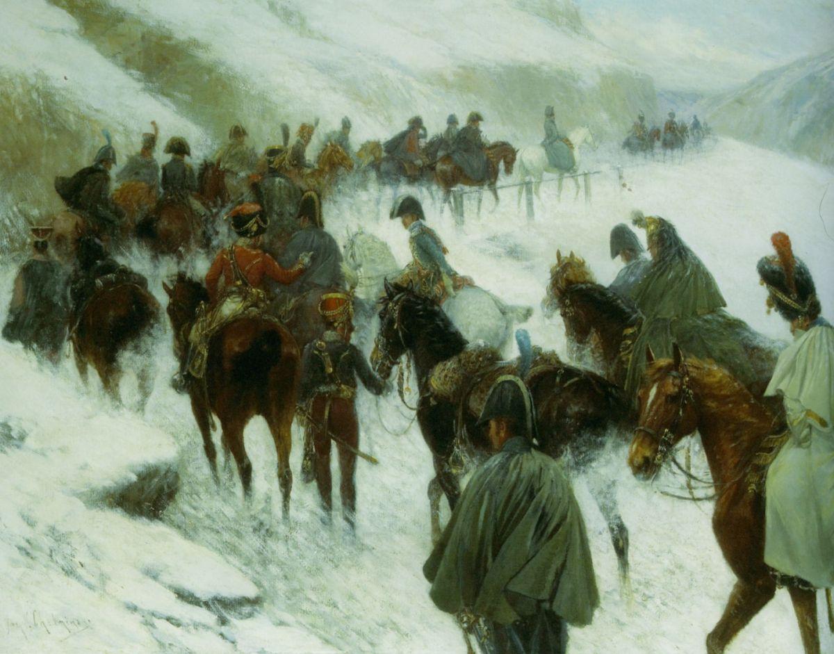 Napoleaon Leading His Troops Through Guadarrama Mountains by Jan Von Chelminski