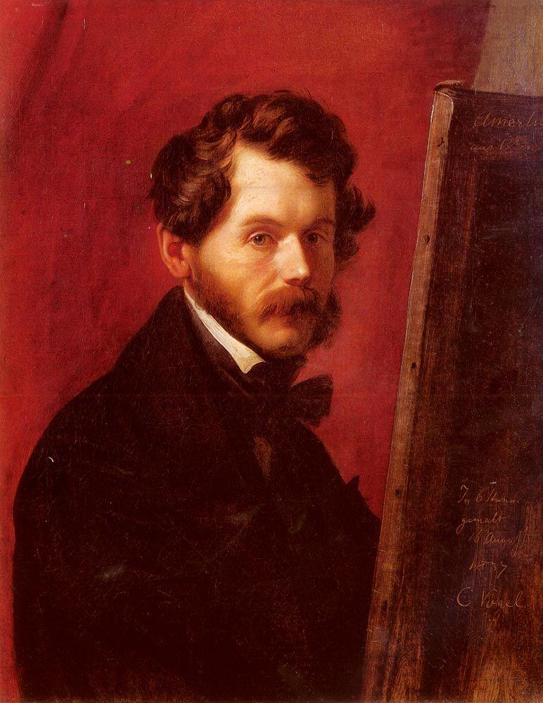 Portrait Of Friedrich von Amerling by Carl Christian Vogel von Vogelstein