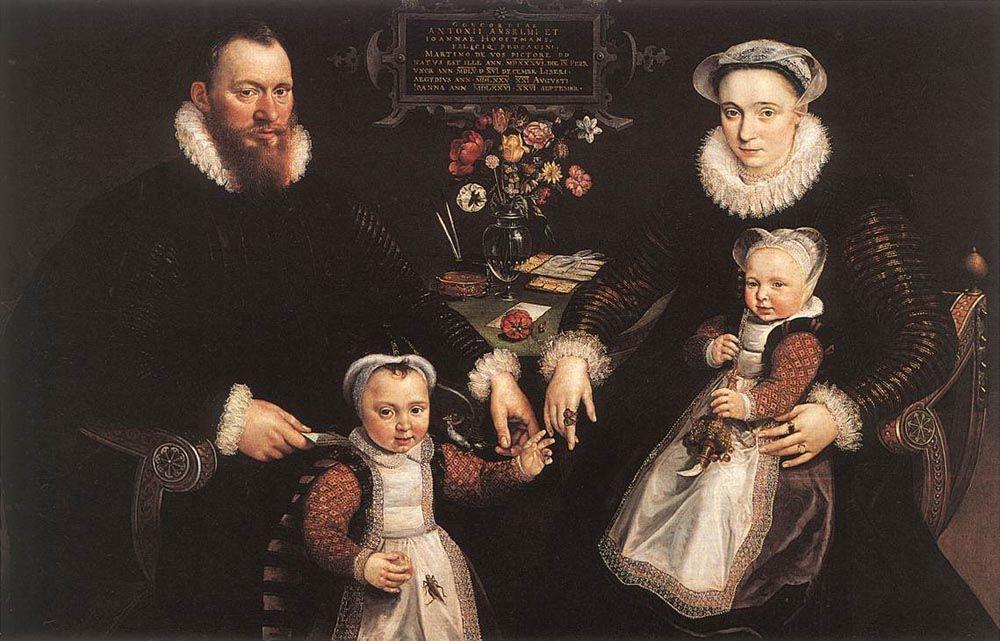 Portrait of Antonius Anselmus His Wife and Their Children by Maarten de Vos
