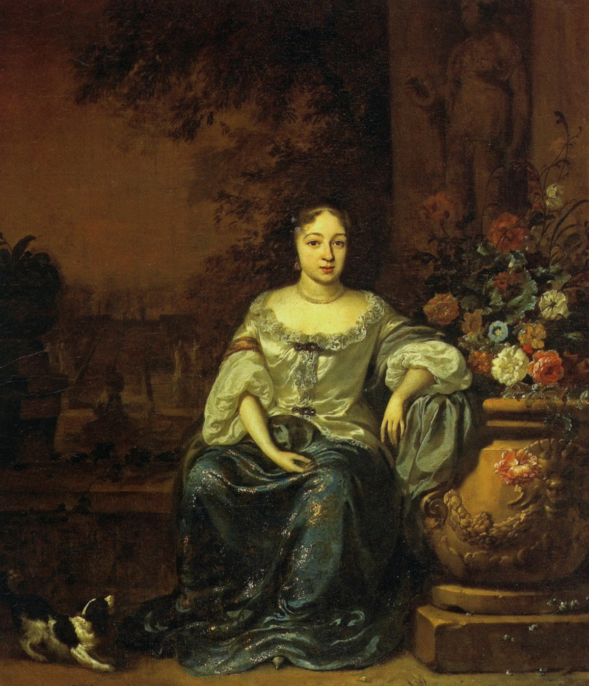 Portrait-of-a-Lady-Seated-in-a-Garden-with-her-Dog-by-Jan-Weenix