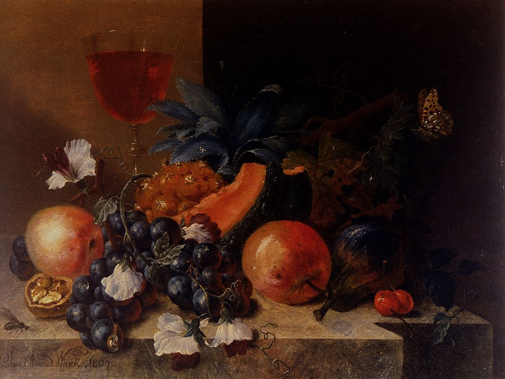 Still Life Of Fruit And Nuts With A Wine Glass All Resting On A Ledge by Johann Amandus Wink