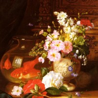 Still Life With Camellias, Primroses And Lily Of The Valley In An Urn By A Goldfish Bowl by John Wainwright