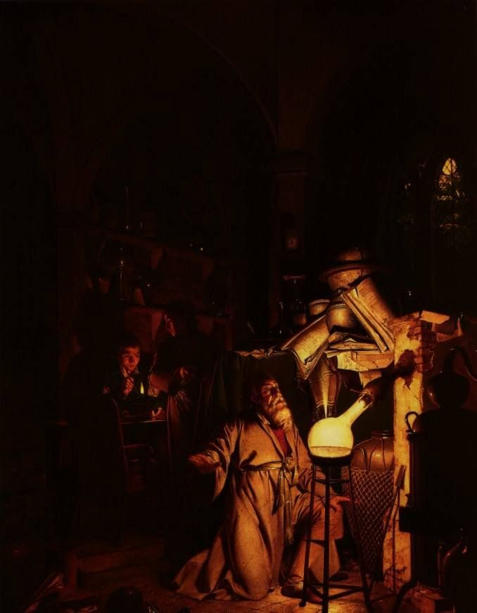 The Alchemist in Search of the Philosopher's Stone by Joseph Wright of Derby