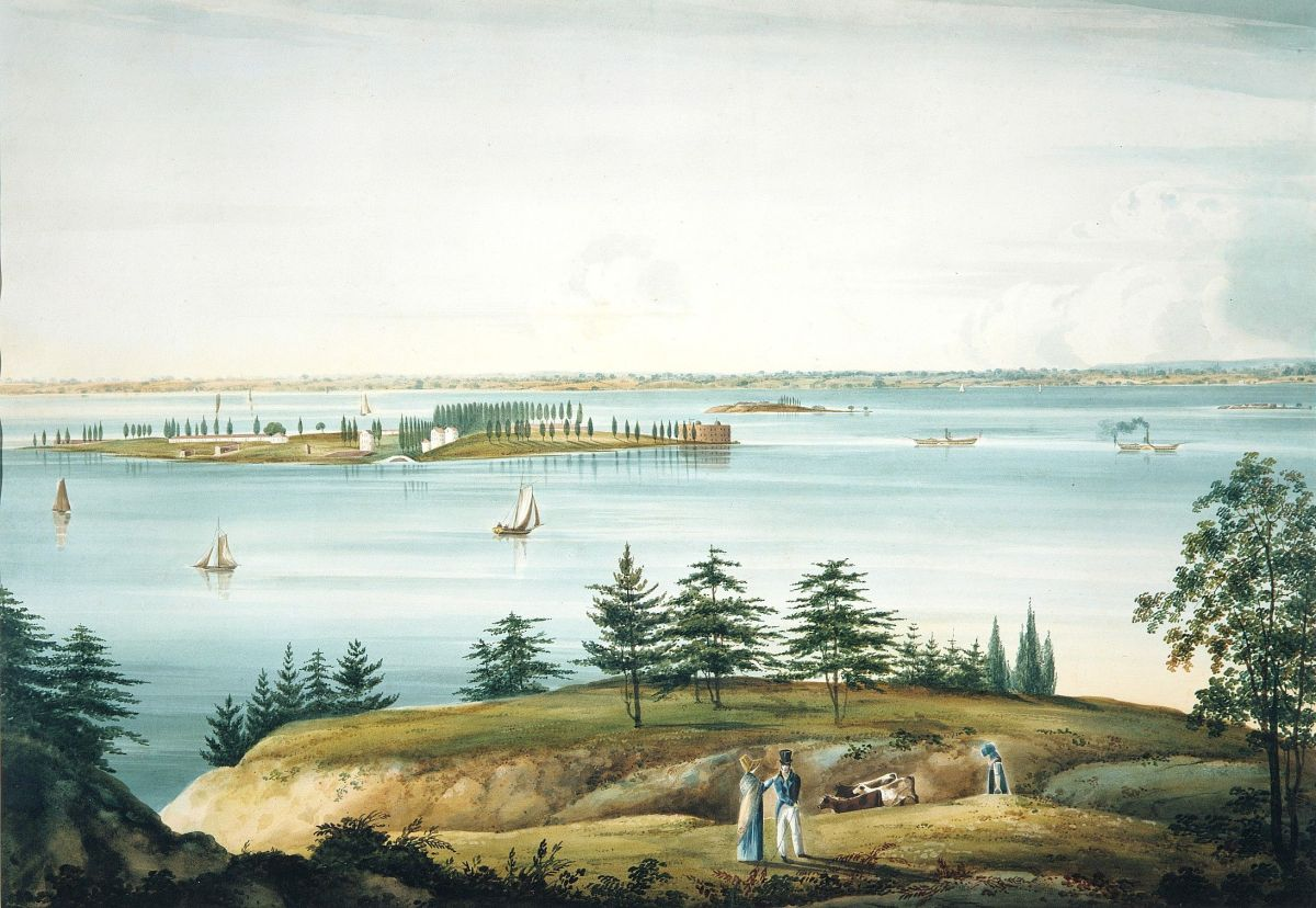 The Bay of New York and Governors Island Taken from Brooklyn Heights by William Guy Wall