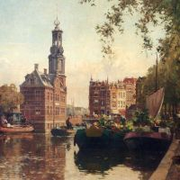 The Flowermarket On The Singel, Amsterdam, With The Munttoren Beyond by Cornelis Vreedenburgh