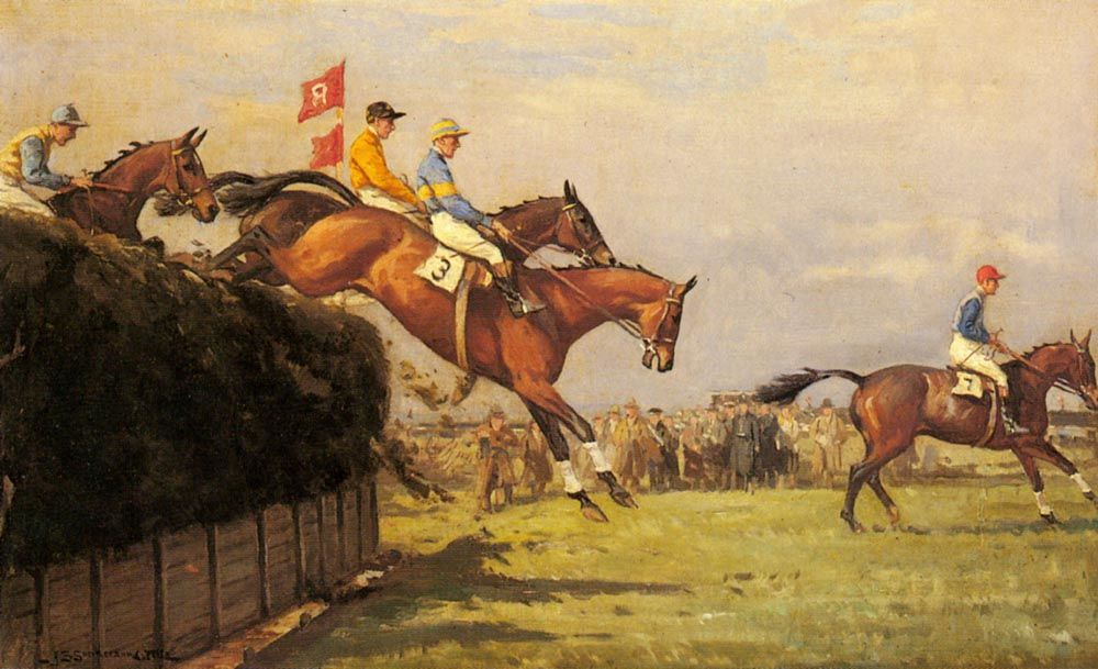 The Grand National Steeplechase Really True and Forbia at Beechers Brook by John Sanderson Wells