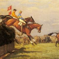 The Grand National Steeplechase: Really True and Forbia at Beecher's Brook by John Sanderson Wells