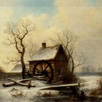 The mill in winter by George Augustsus Williams