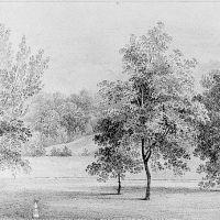 View of David Hosack Estate, Hyde Park, New York, with a Sundial (from Hosack Album) by Thomas Kelah Wharton
