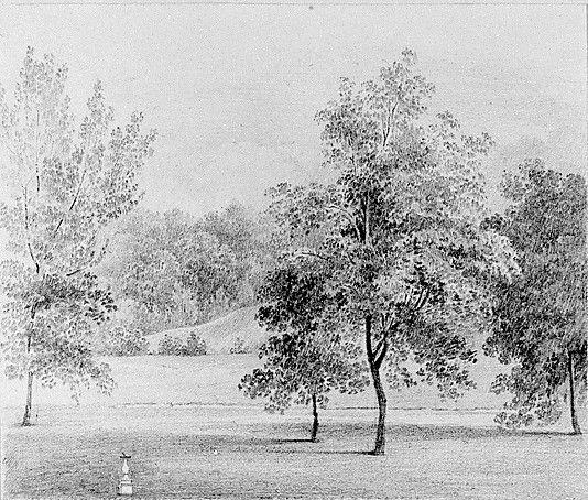 View of David Hosack Estate Hyde Park New York with a Sundial from Hosack Album by Thomas Kelah Wharton