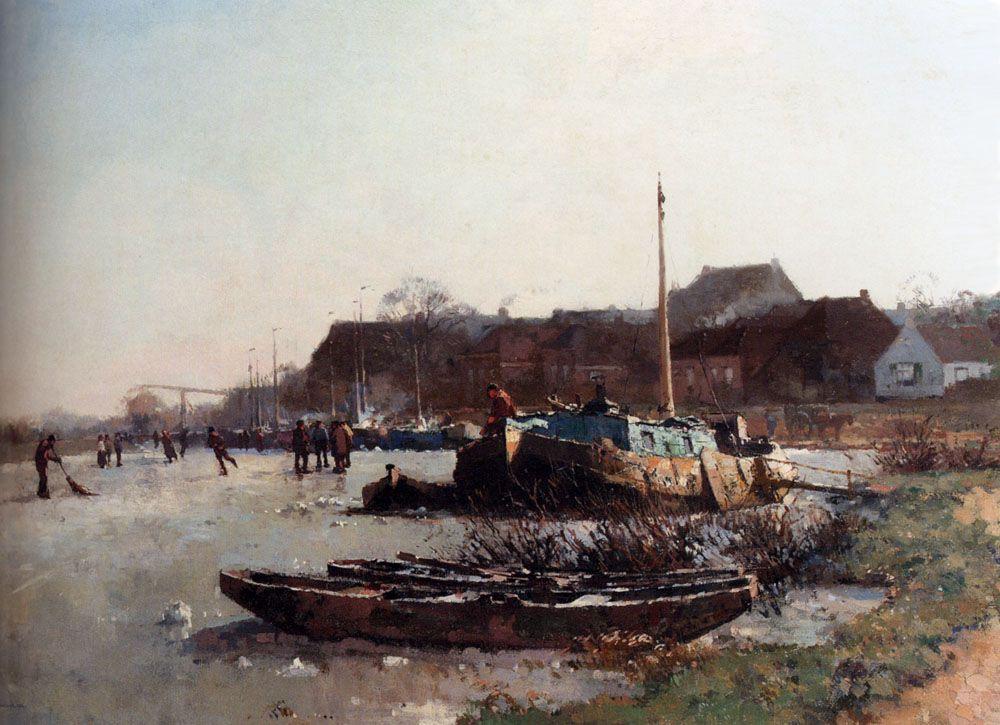 Winterfun On De Loswal Hattem by Cornelis Vreedenburgh