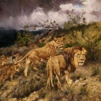 A Family of Lions by Geza Vastagh