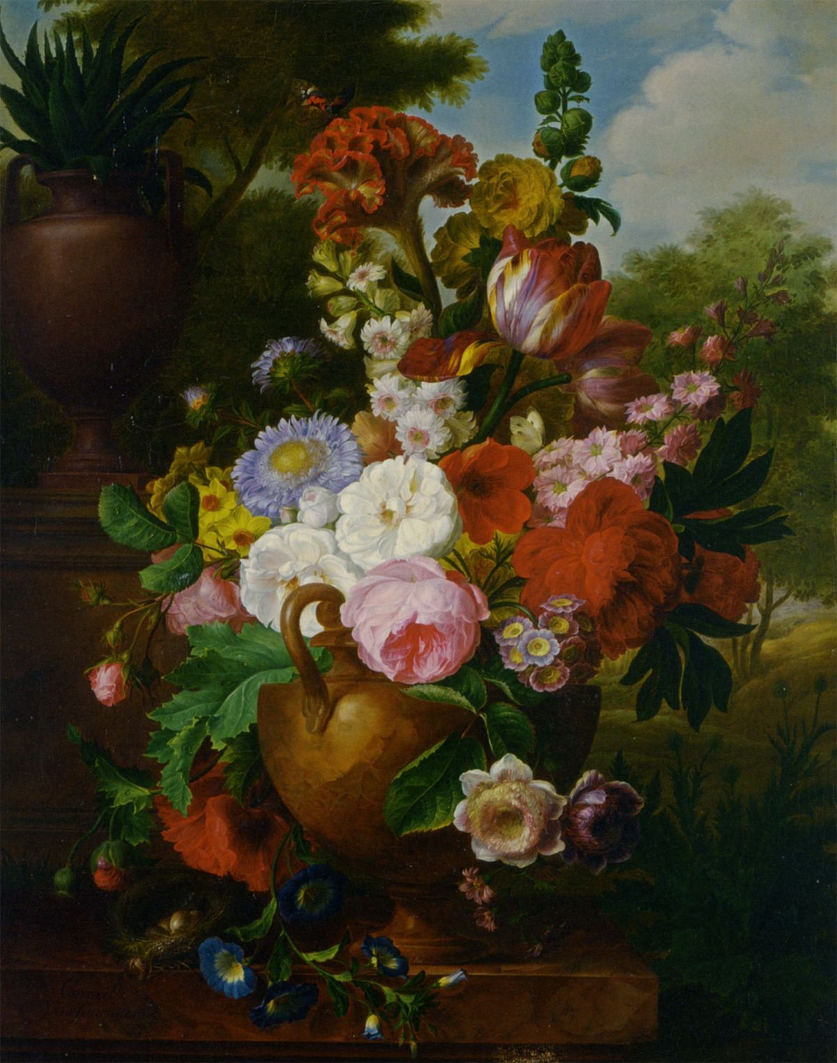 A Flower Still Life with Roses Tulips Peonies and other Flowers in a Vase by Cornelis Van Spaendonck