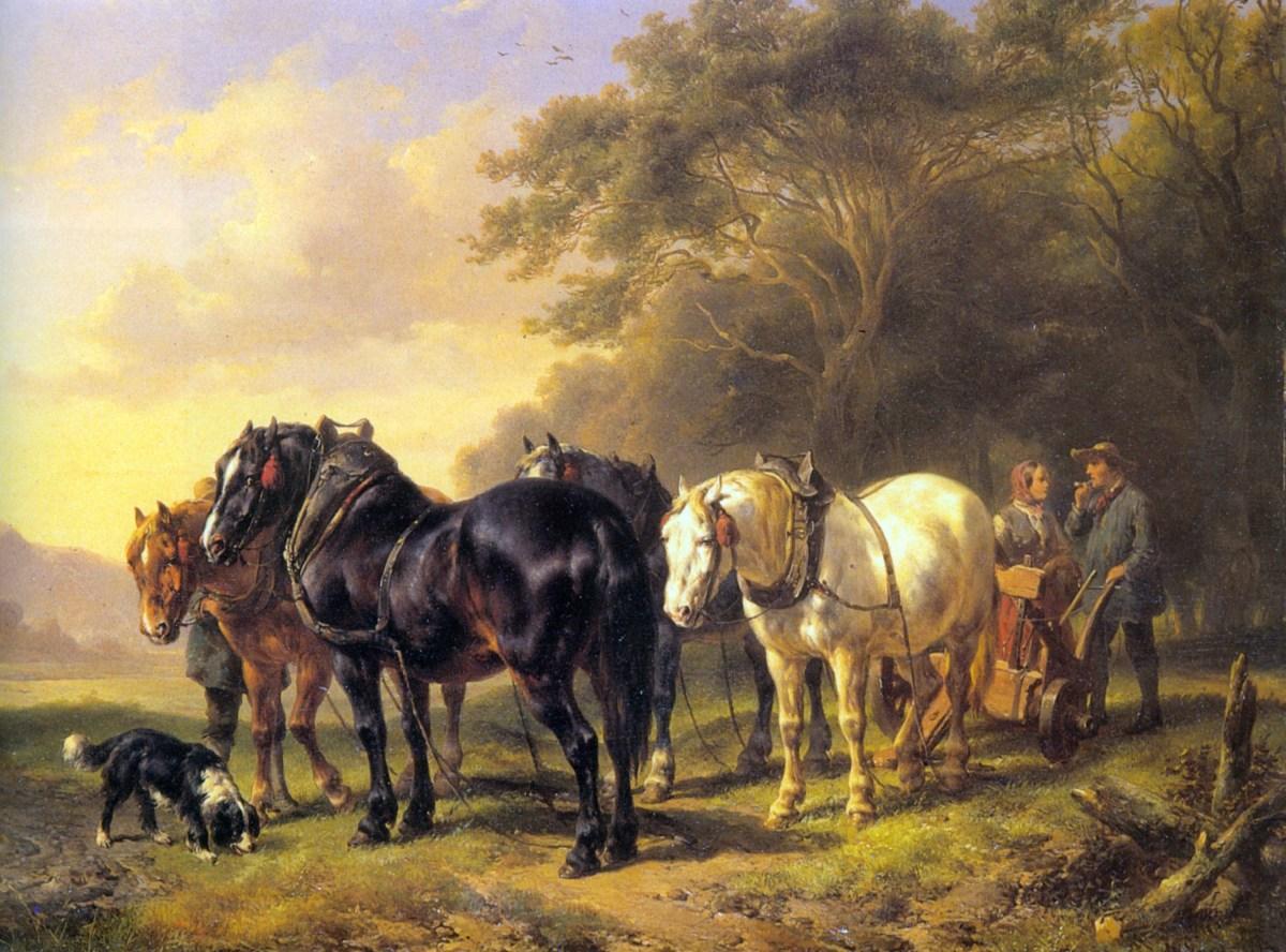 A Plough Team at Rest by Wouterus Verschuur Jr.
