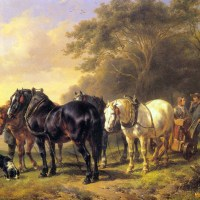 A Plough Team at Rest by Wouterus Verschuur Jr.