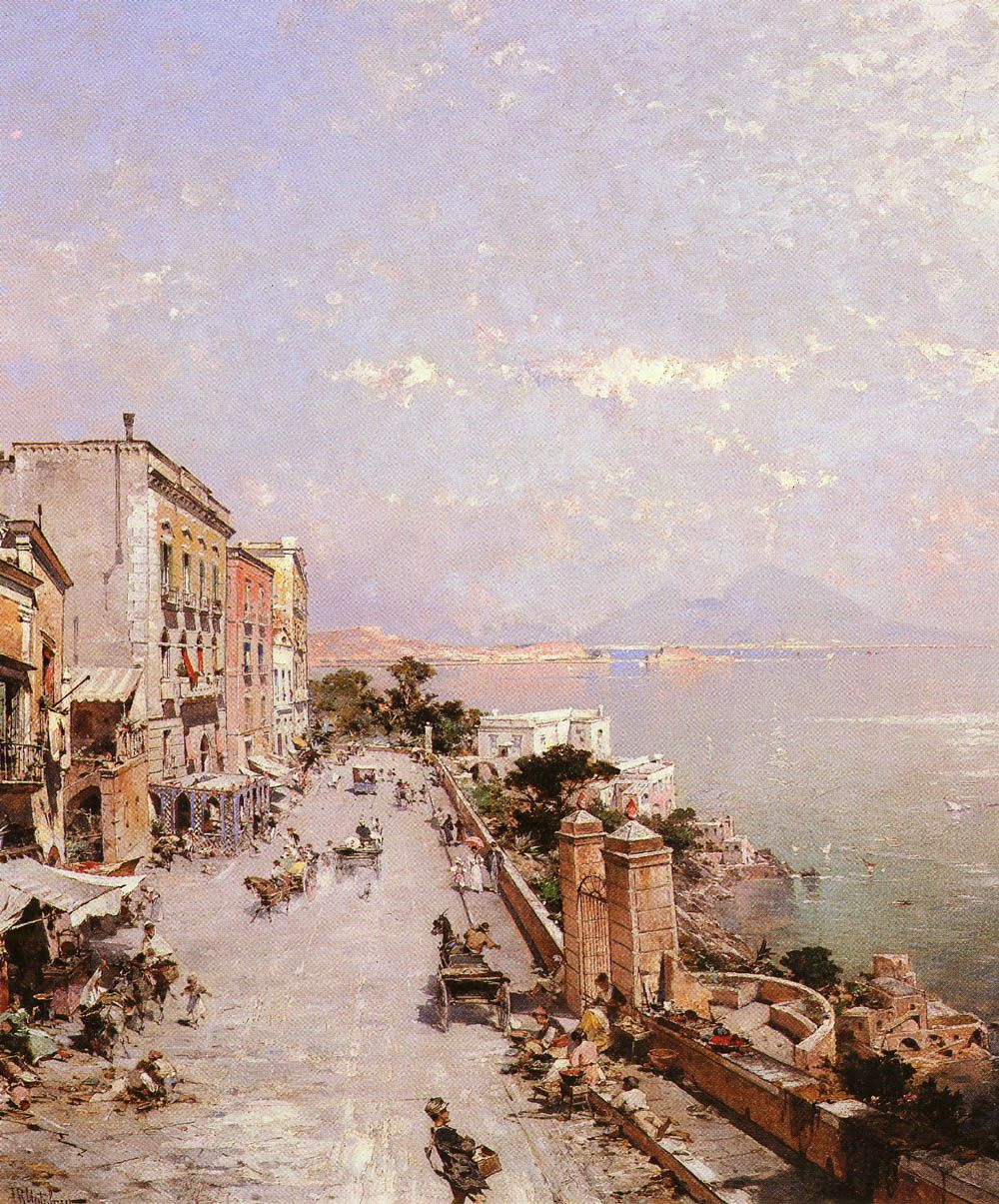 A View of Posilippo Naples by Franz Richard Unterberger
