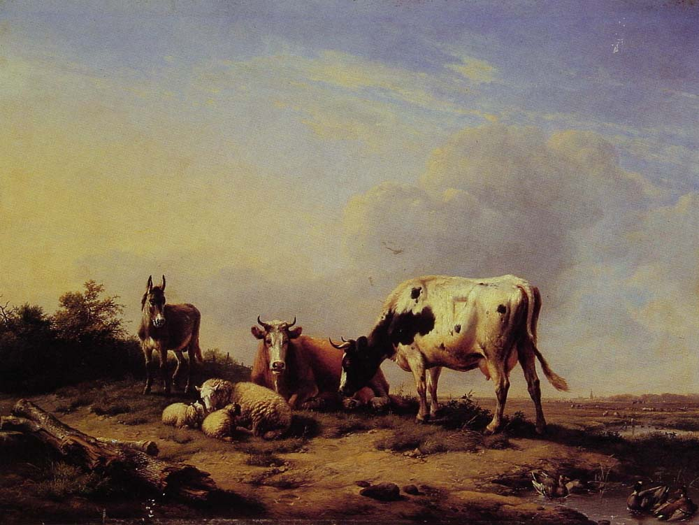 A gathering in the pasture by Eugene Verboeckhoven