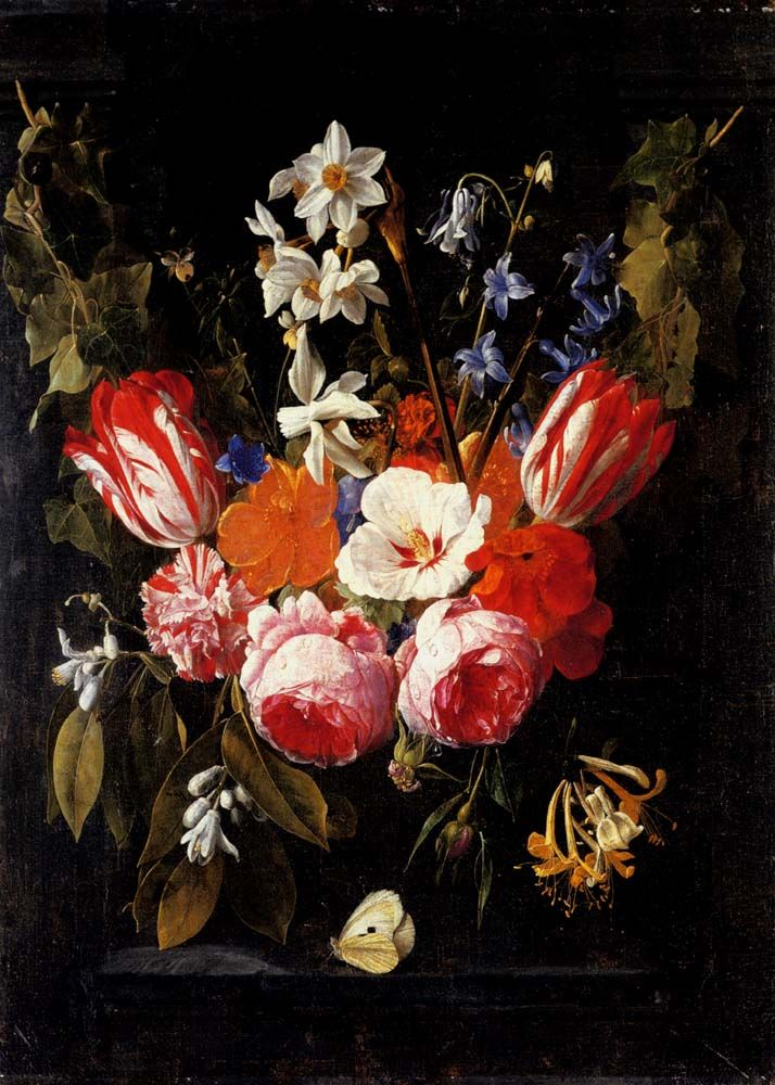 A swag of tulips peonies carnations narcissi and other flowers with a butterfly in a stone niche by Nicolaes Van Veerendael