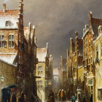 Figures in the Snow Covered Streets of a Dutch Town by Pieter Gerard Vertin