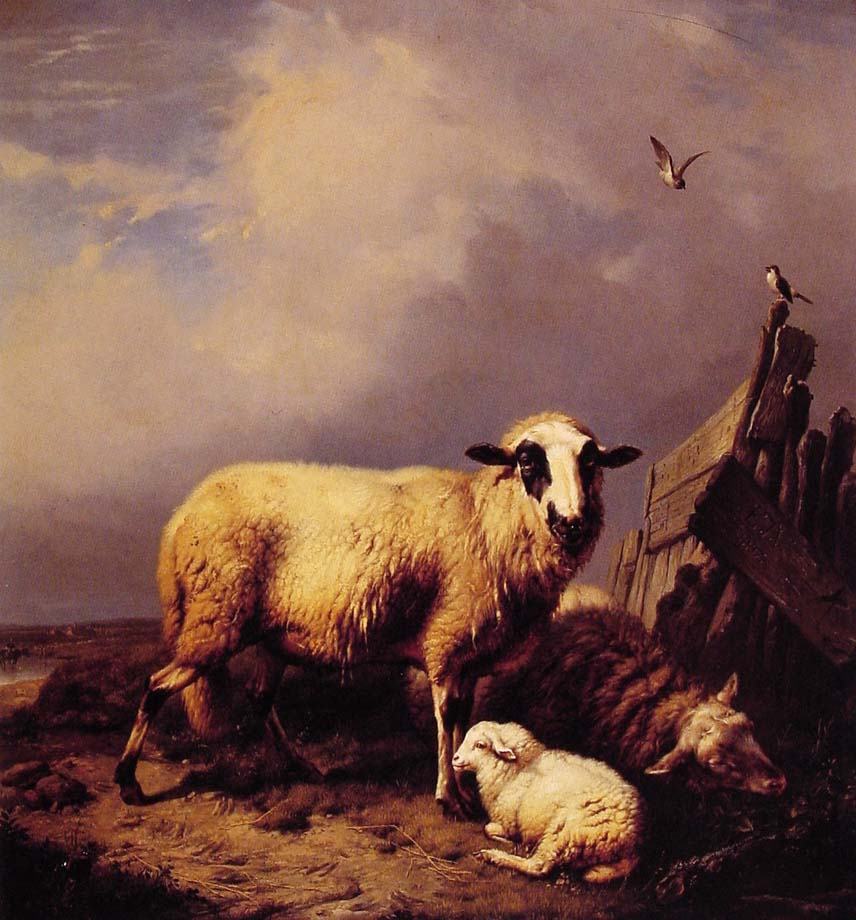 Guarding the Lamb by Eugene Verboeckhoven