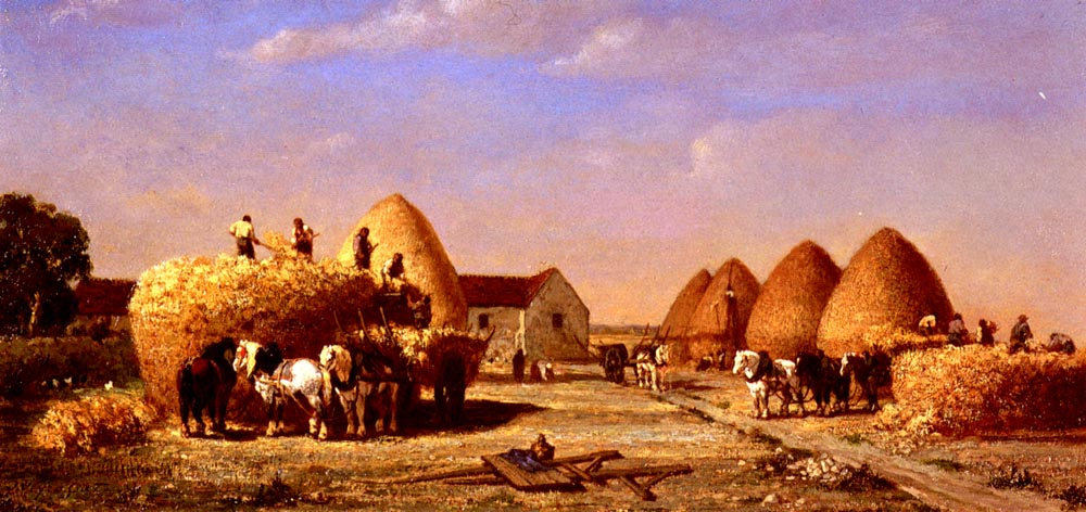 Haymaking by Jules Jacques Veyrassat
