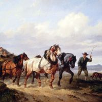 Horses Pulling A Hay Wagon In A Landscape by Wouter Verschuur