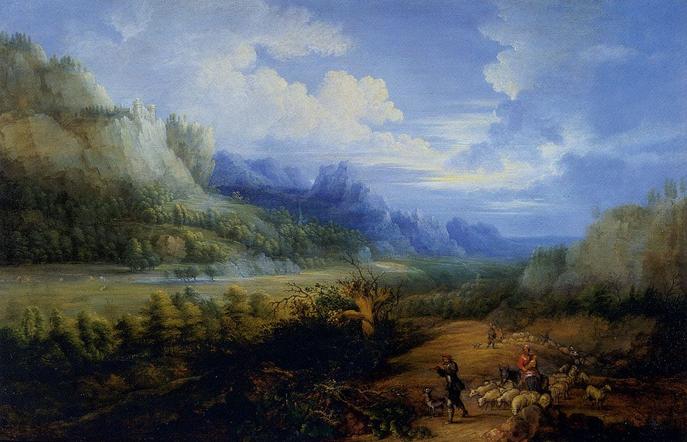 Landscape With Herdsmen And Their Sheep by Lucas Van Uden