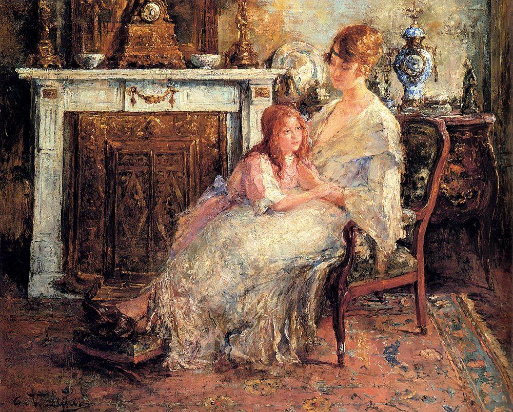 Mother And Daughter by Edward Verschaffelt