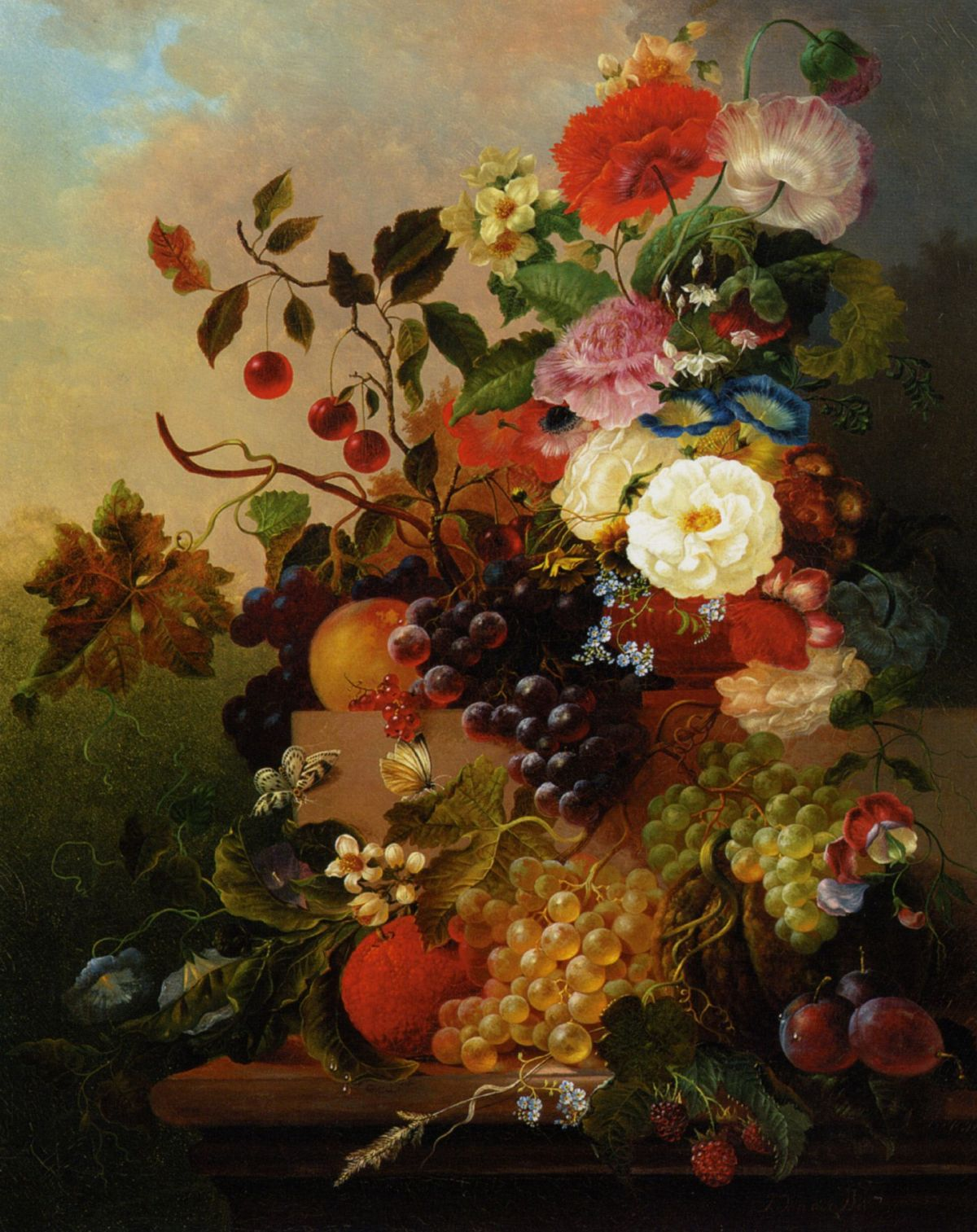 Poppies Peonies Roses and other Flowers with Grapes on a Marble Ledge by Jan Van Der Waarden