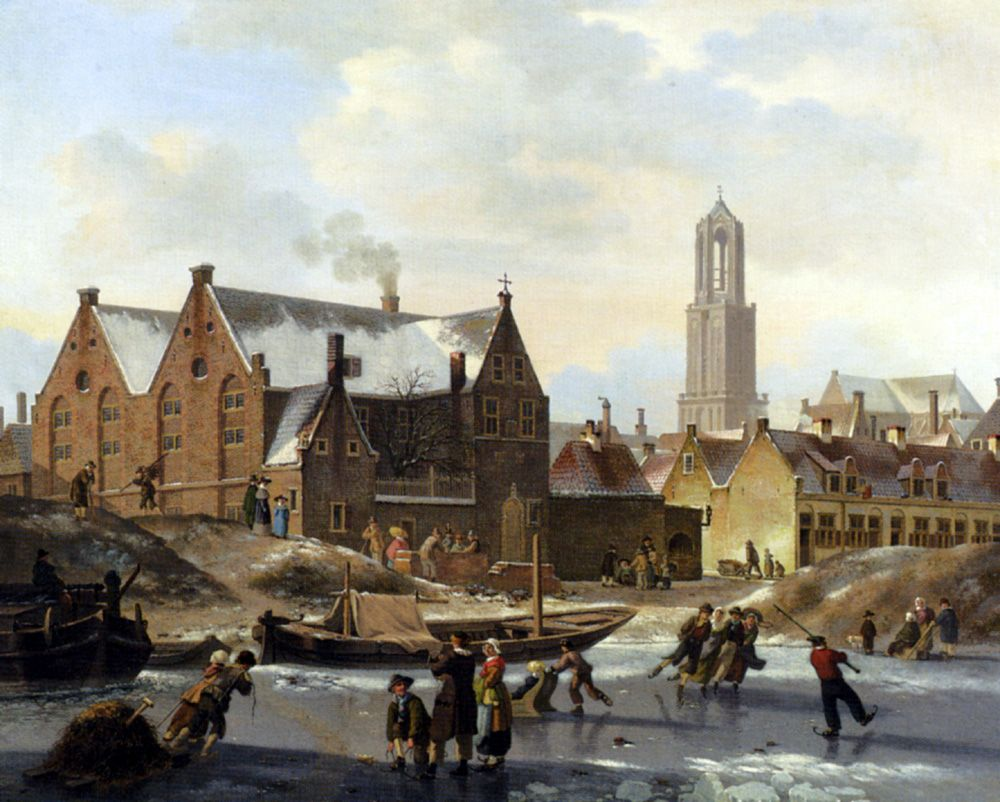Skaters On A Frozen Canal by Jan Hendrik Verheijen
