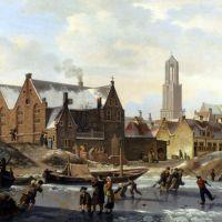 Skaters On A Frozen Canal by Jan Hendrik Verheijen