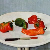 Still Life with Red Peppers on a White Lacquered Table by Felix Vallotton