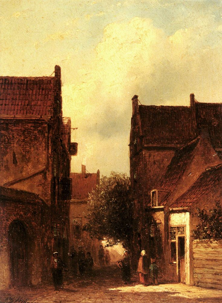 Street Scene With Figures Possibly Rotterdam by Pieter Gerard Vertin