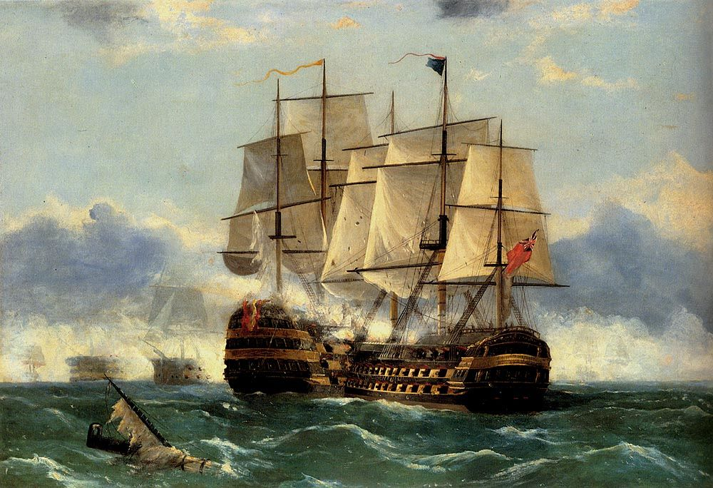 The Battleship Trafalgar by Frederick Tudgay