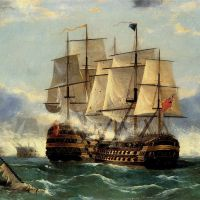 The Battleship Trafalgar by Frederick Tudgay