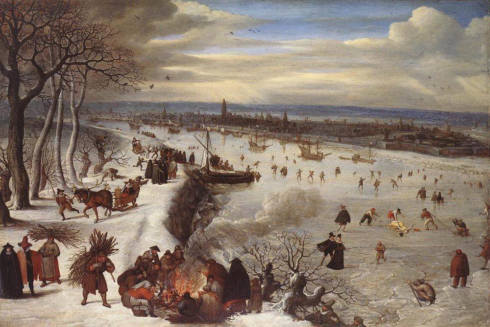 View of Antwerp with the Frozen Schelde by Lucas van Valkenborch