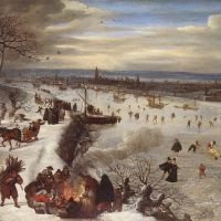 View of Antwerp with the Frozen Schelde by Lucas van Valkenborch