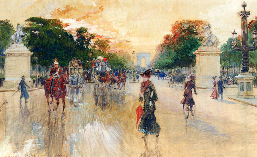 Busy Traffic On The Champs Elysees Paris by Georges Stein