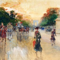 Busy Traffic On The Champs Elysees, Paris by Georges Stein