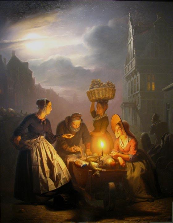 A Market Scene by Moonlight by Petrus Van Schendel