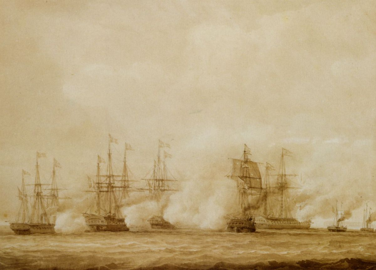A naval action between the Austrian and the Danes off Heligoland by John Christian Schetky