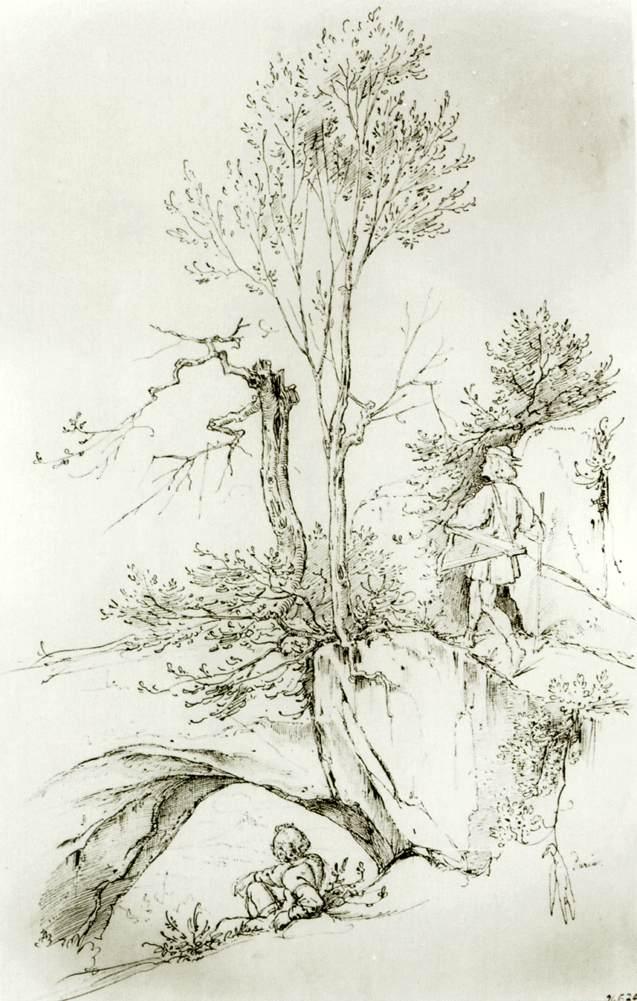 Landscape with Wanderer by Moritz von Schwind