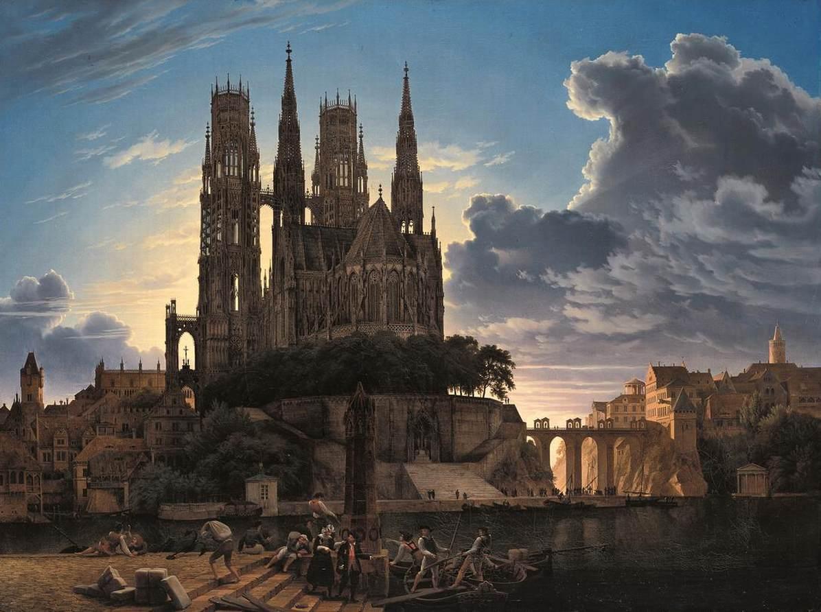 Medieval Town by Water by Karl Friedrich Schinkel