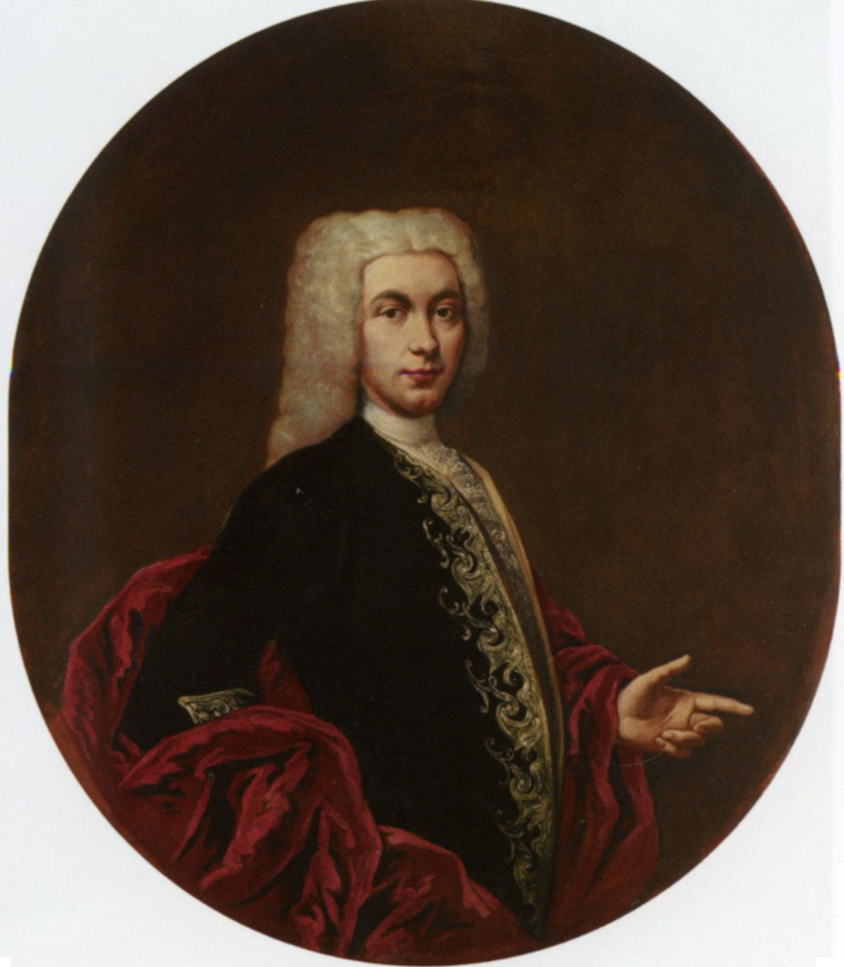 Portrait of a Gentleman Half Length Wearing an Embroidered Doublet by Giacomo Ceruti