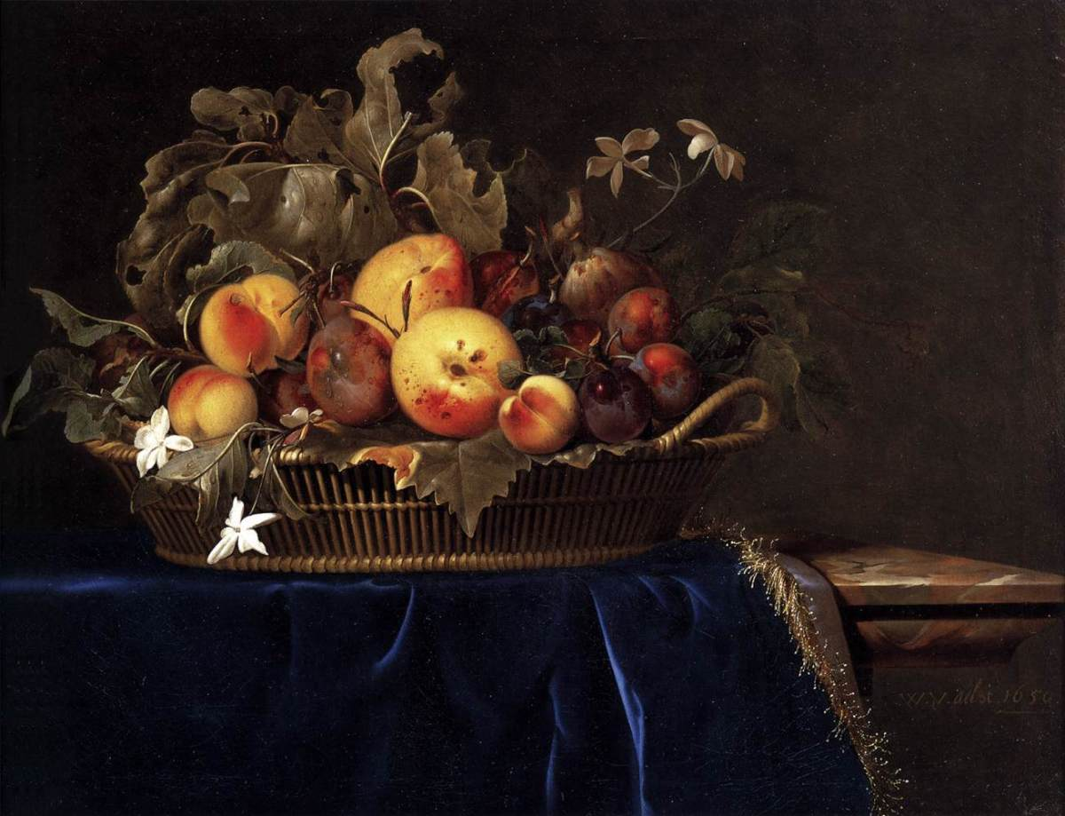 Still-Life with a Basket of Fruit on a Marble Ledge by Willem van Aelst