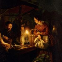 The Candlelit Market by Petrus Van Schendel
