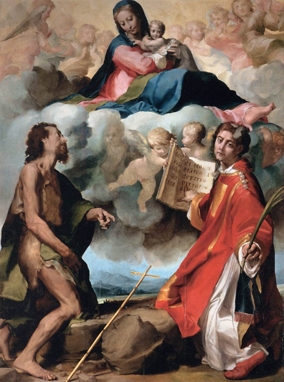 Virgin in Glory Flanked by Sts John the Baptist and Stephen by Anselmi Michelangelo