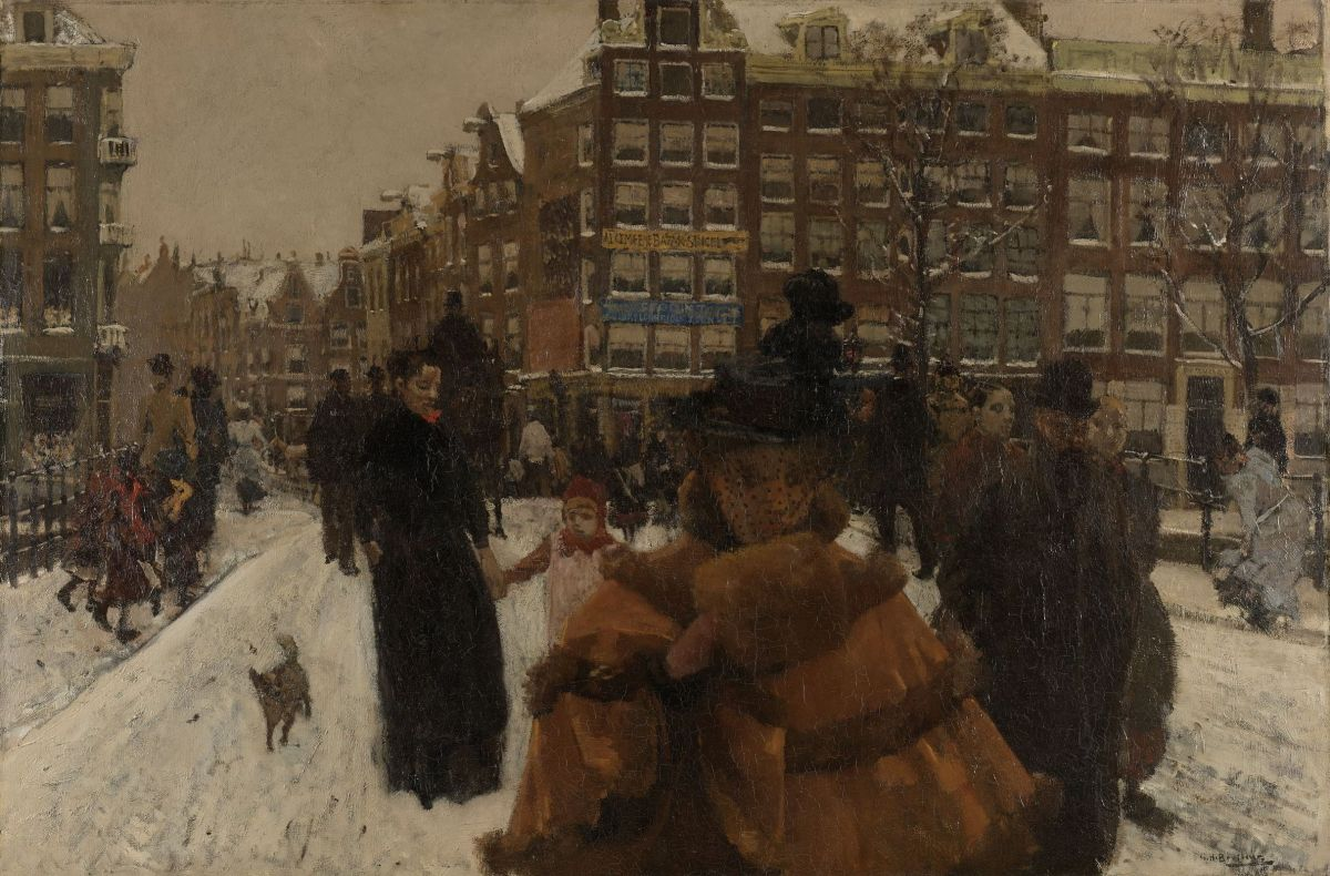 The Singel Bridge at the Paleisstraat in Amsterdam by George Hendrik Breitner